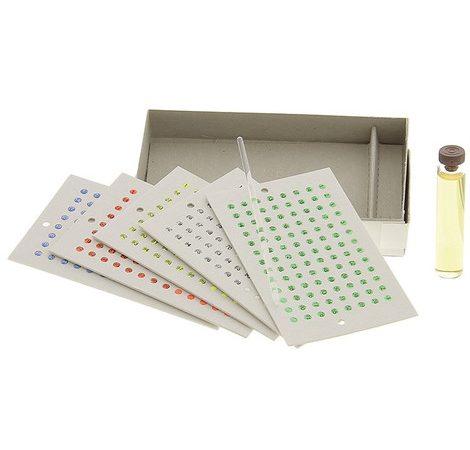 Coffret marquage 5x100 pastilles 5 couleurs sans numéro avec colle