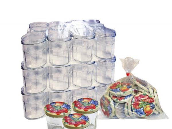 """Pack de 36 pots en verre de 500g spécial confitures, avec capsules """"Fruits"""""""